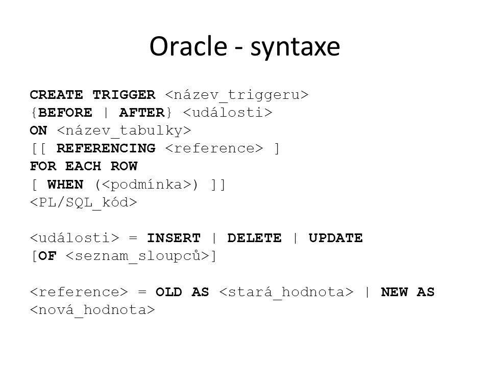 Oracle - syntaxe