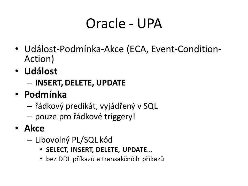 Oracle - UPA Událost-Podmínka-Akce (ECA, Event-Condition-Action)