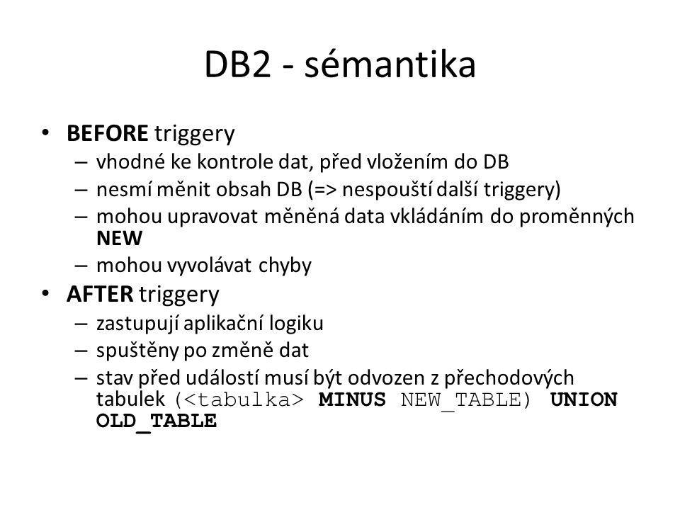DB2 - sémantika BEFORE triggery AFTER triggery