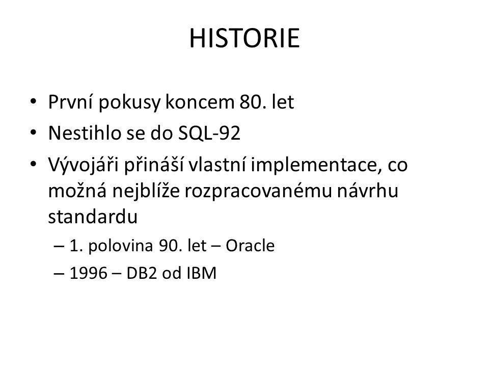 HISTORIE První pokusy koncem 80. let Nestihlo se do SQL-92