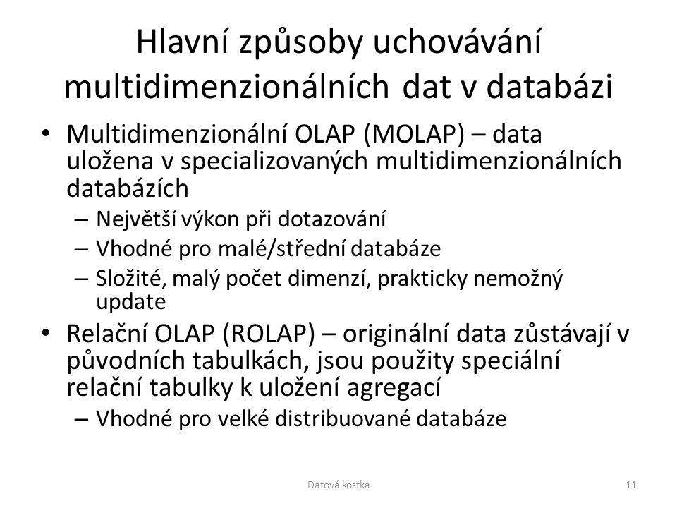 Hlavní způsoby uchovávání multidimenzionálních dat v databázi