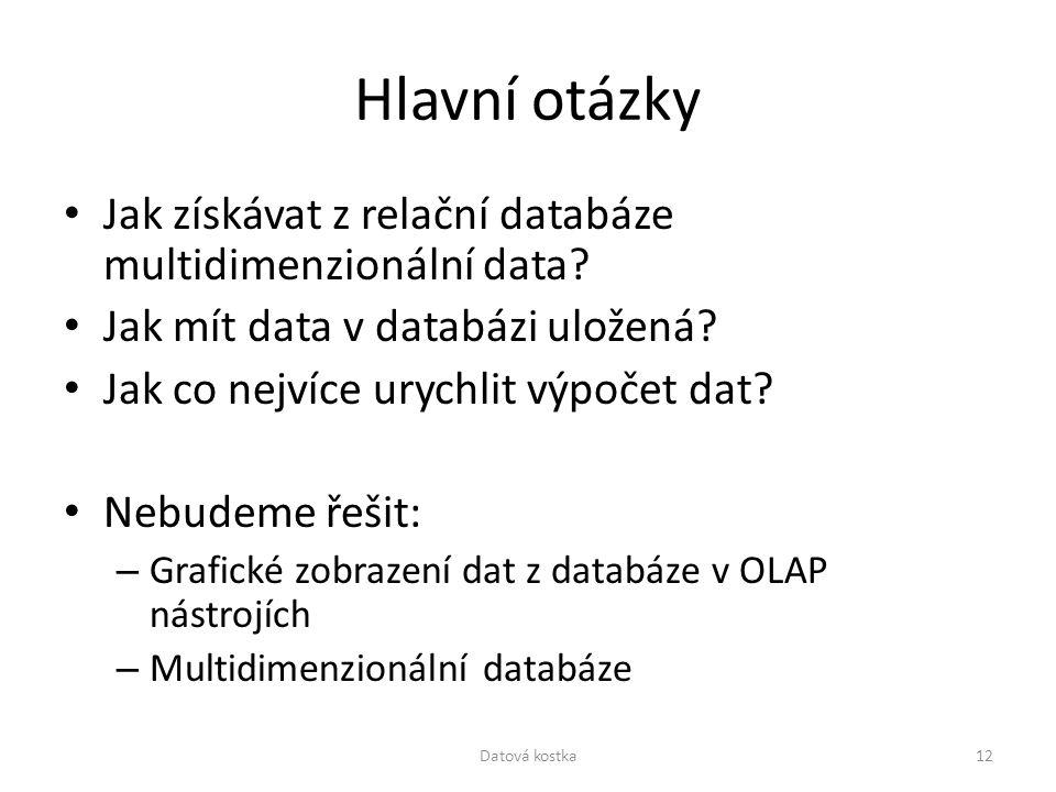 Hlavní otázky Jak získávat z relační databáze multidimenzionální data