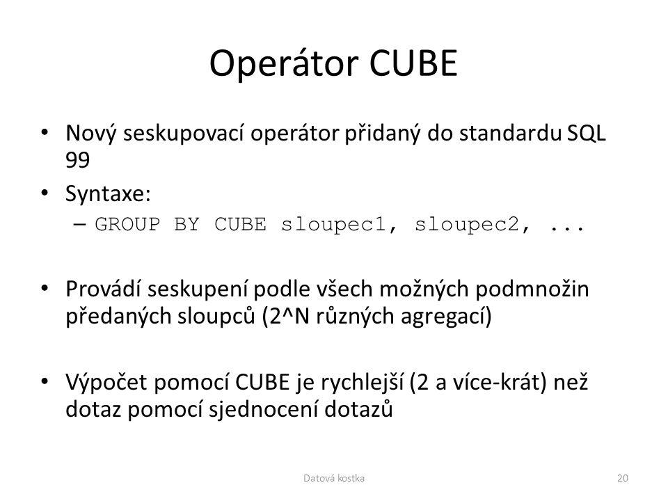 Operátor CUBE Nový seskupovací operátor přidaný do standardu SQL 99