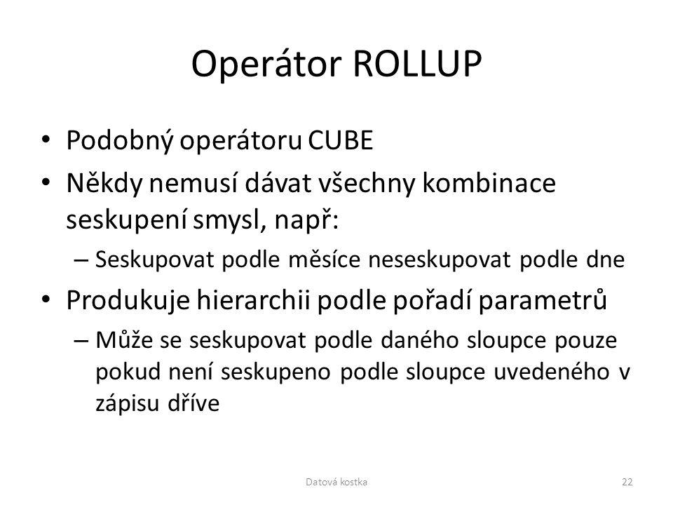 Operátor ROLLUP Podobný operátoru CUBE