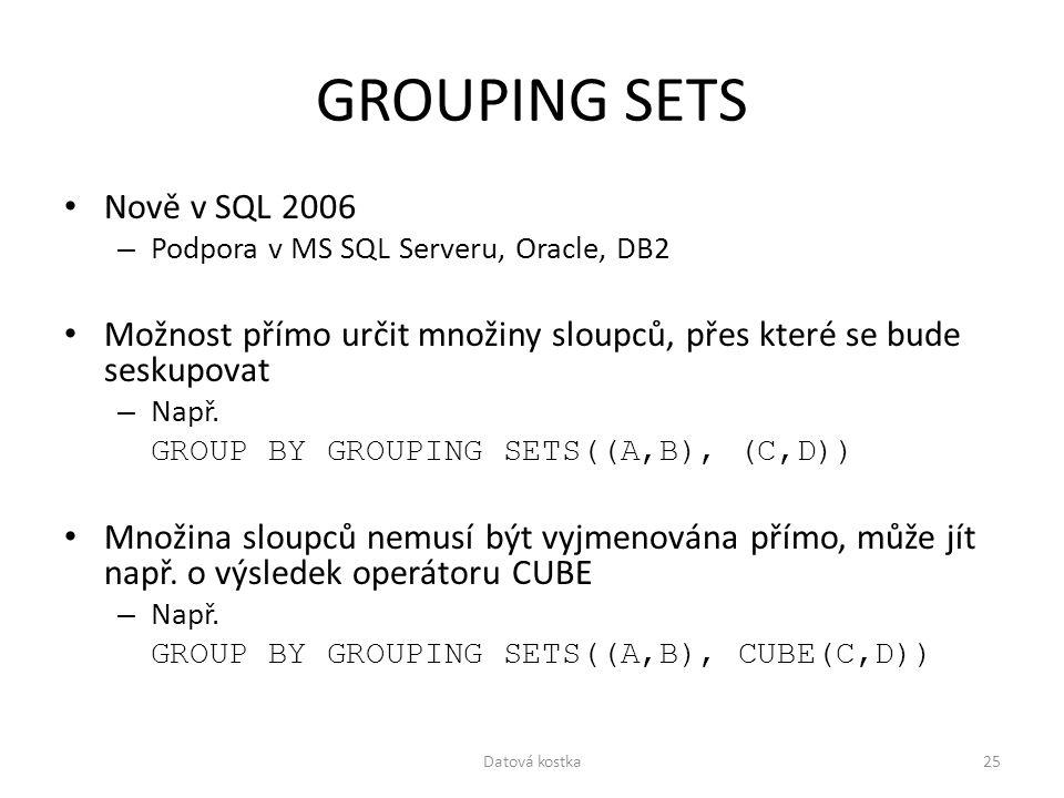 GROUPING SETS Nově v SQL 2006