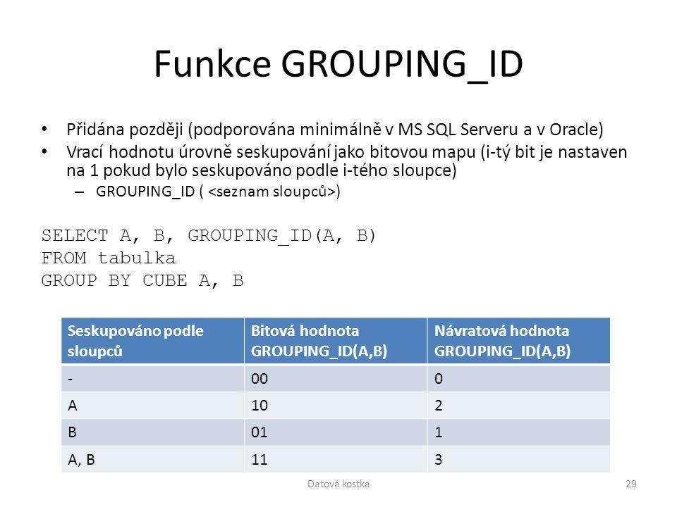 Funkce GROUPING_ID Přidána později (podporována minimálně v MS SQL Serveru a v Oracle)