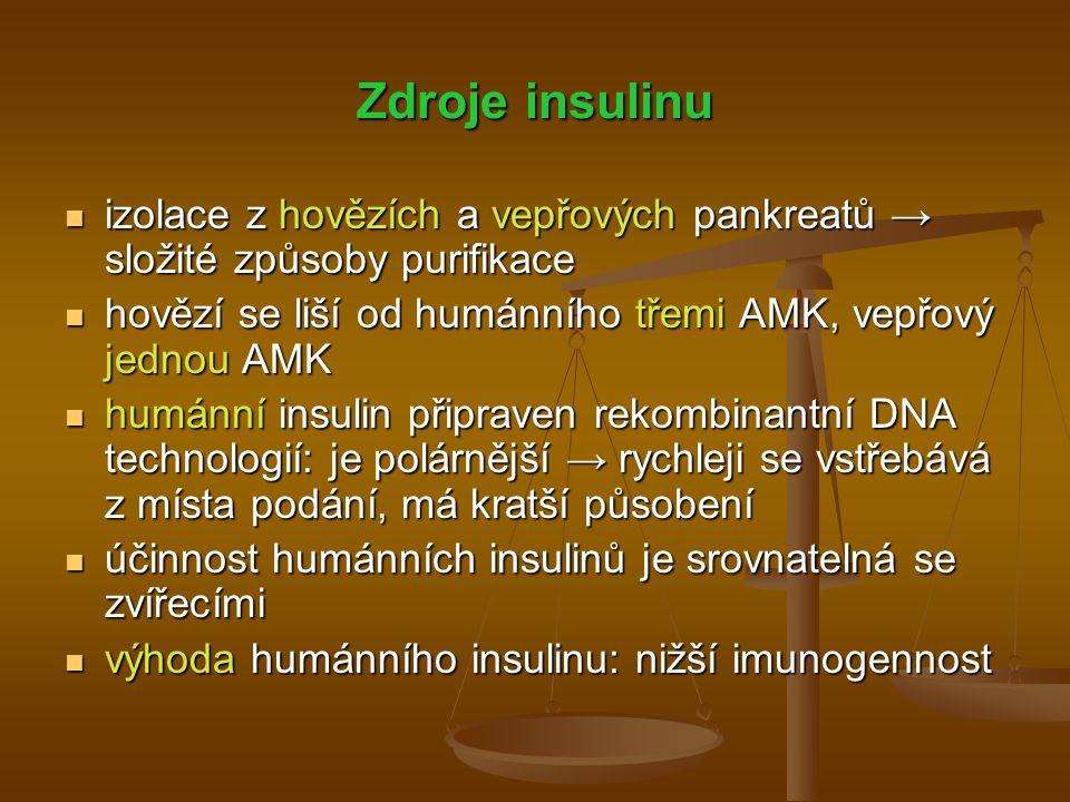 Zdroje insulinu izolace z hovězích a vepřových pankreatů → složité způsoby purifikace. hovězí se liší od humánního třemi AMK, vepřový jednou AMK.