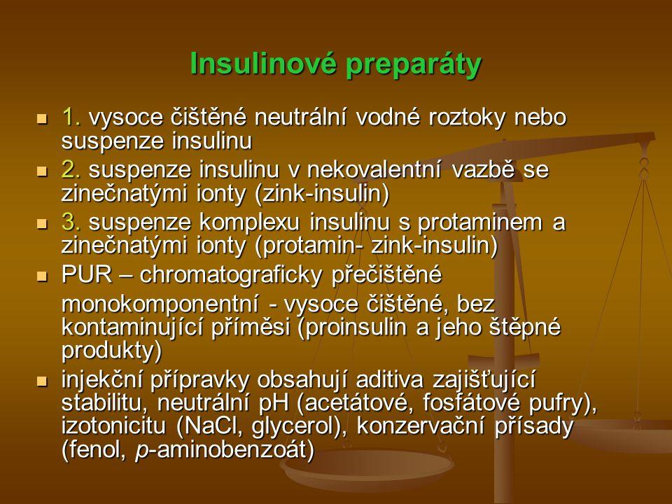 Insulinové preparáty 1. vysoce čištěné neutrální vodné roztoky nebo suspenze insulinu.