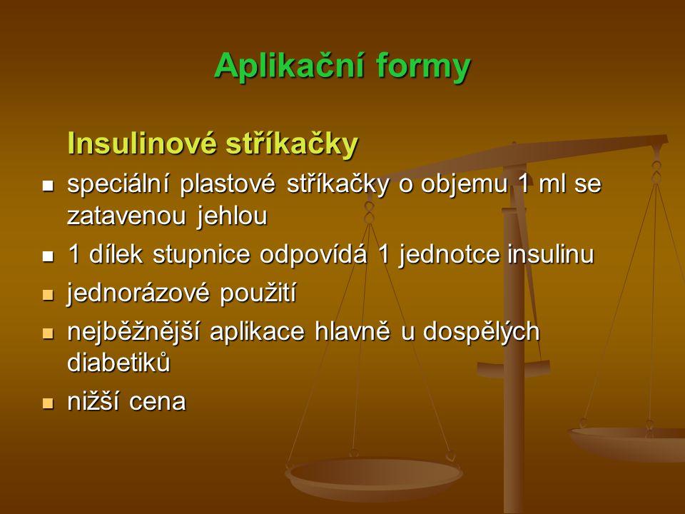 Aplikační formy Insulinové stříkačky