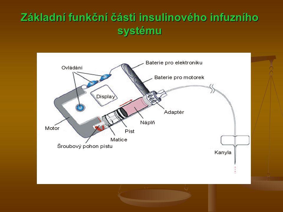 Základní funkční části insulinového infuzního systému