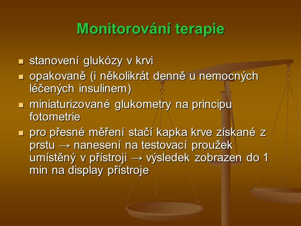 Monitorování terapie stanovení glukózy v krvi
