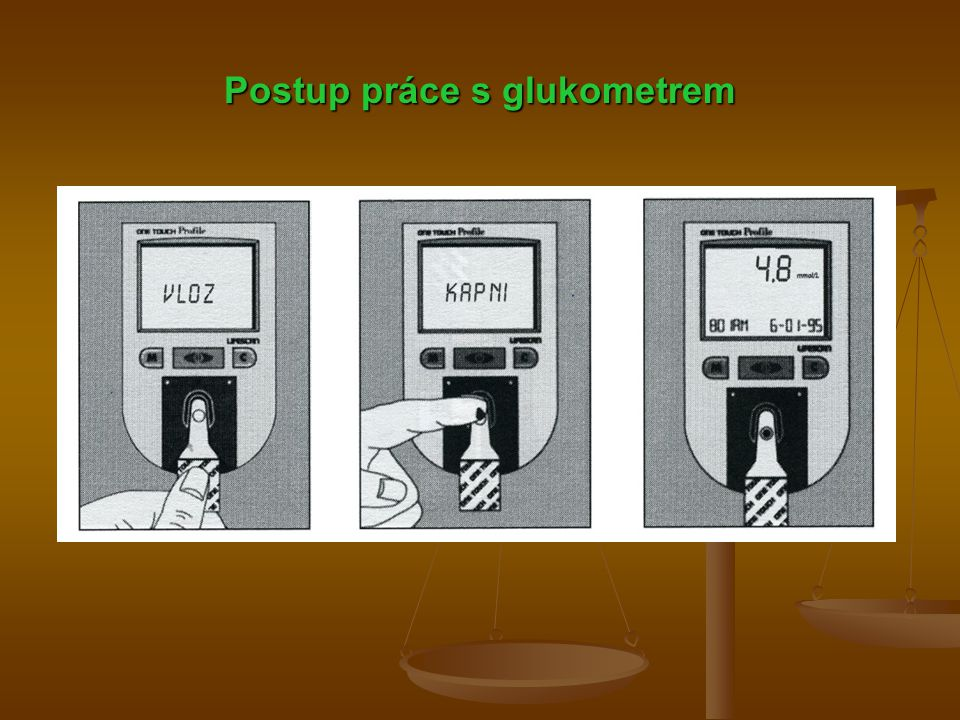 Postup práce s glukometrem