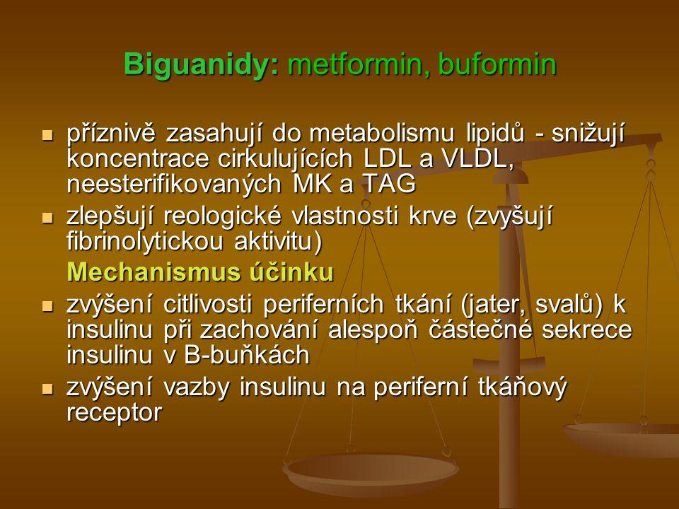 Biguanidy: metformin, buformin