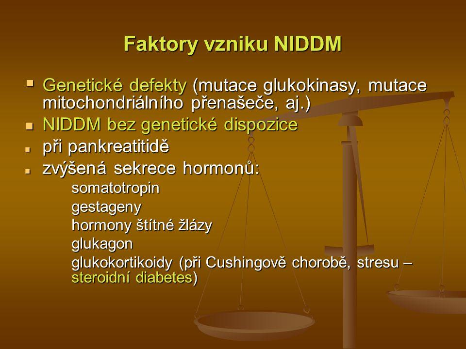 Faktory vzniku NIDDM Genetické defekty (mutace glukokinasy, mutace mitochondriálního přenašeče, aj.)