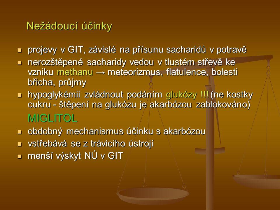 Nežádoucí účinky projevy v GIT, závislé na přísunu sacharidů v potravě