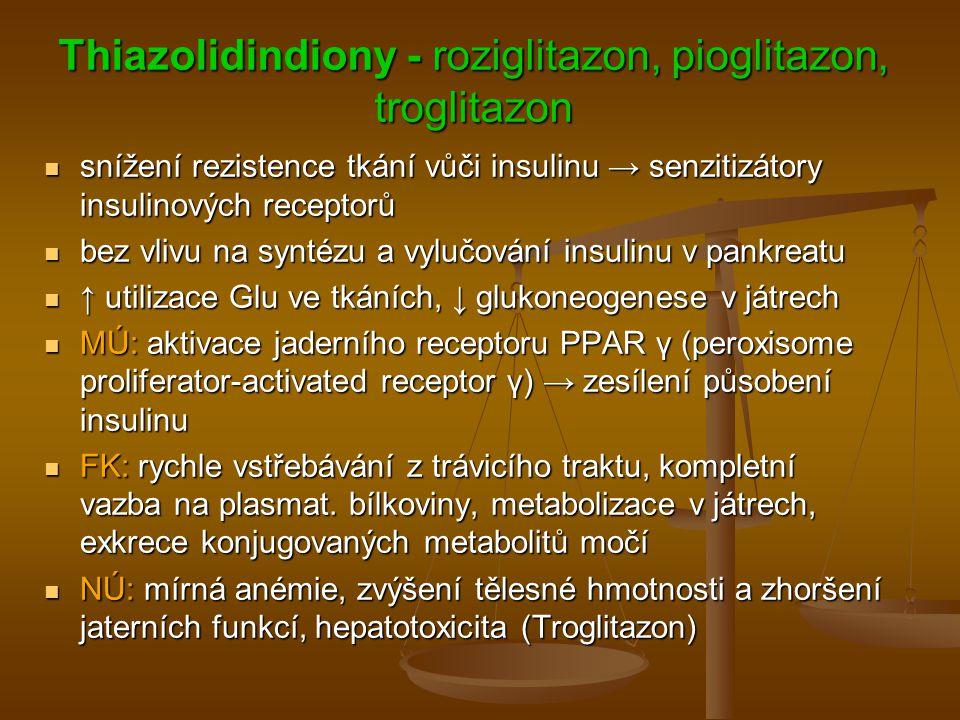 Thiazolidindiony - roziglitazon, pioglitazon, troglitazon