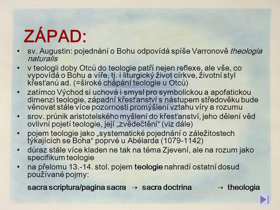 ZÁPAD: sv. Augustin: pojednání o Bohu odpovídá spíše Varronově theologia naturalis.