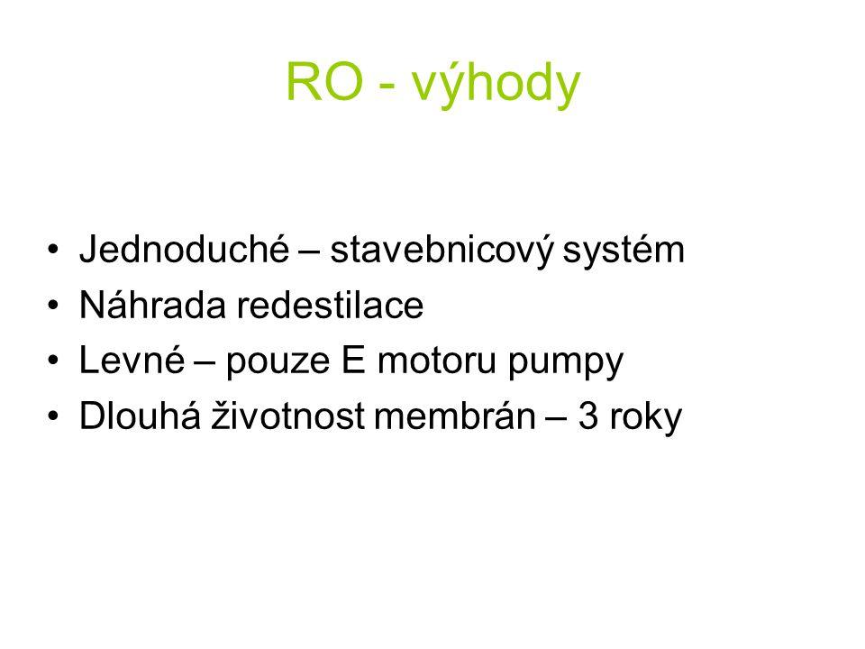 RO - výhody Jednoduché – stavebnicový systém Náhrada redestilace