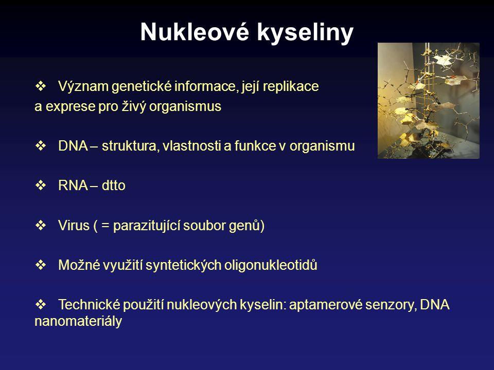 Nukleové kyseliny Význam genetické informace, její replikace