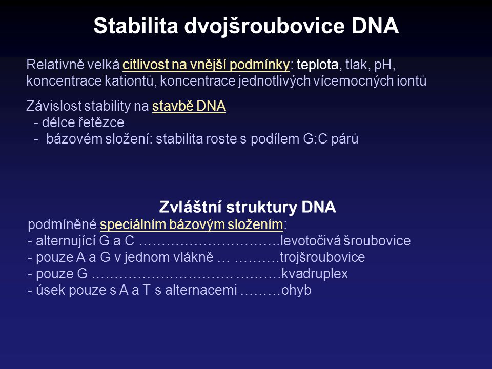 Stabilita dvojšroubovice DNA