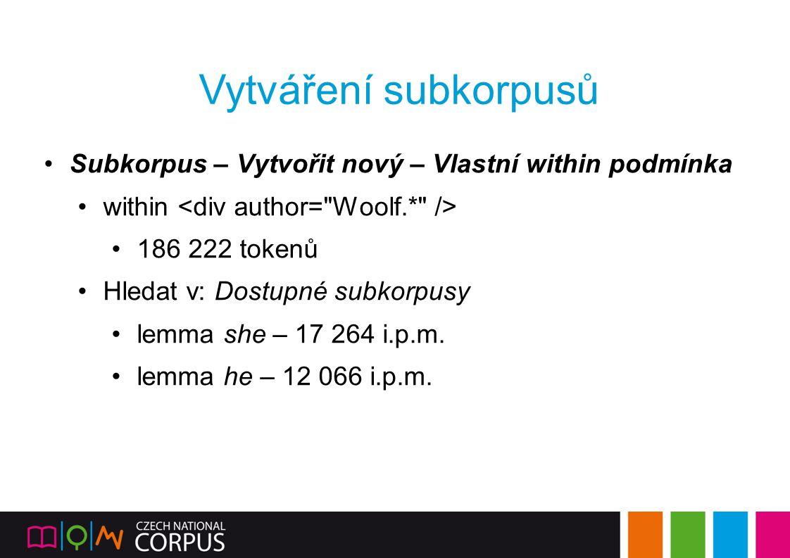 Vytváření subkorpusů Subkorpus – Vytvořit nový – Vlastní within podmínka. within <div author= Woolf.* />