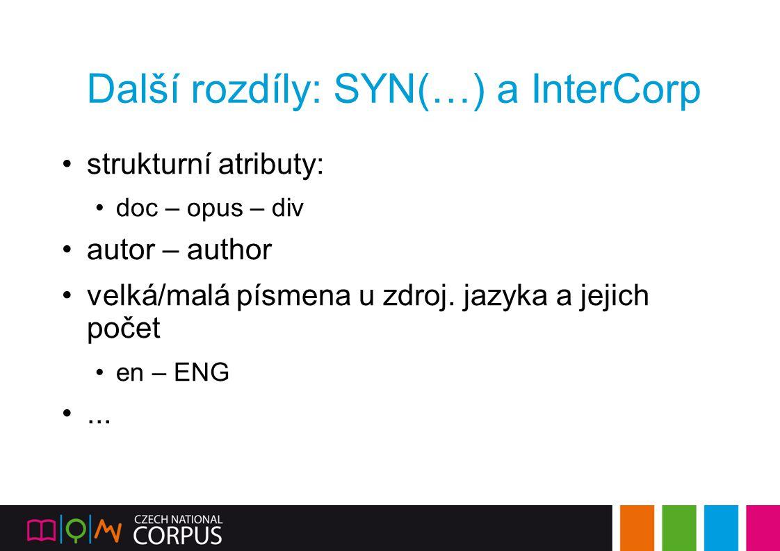 Další rozdíly: SYN(…) a InterCorp