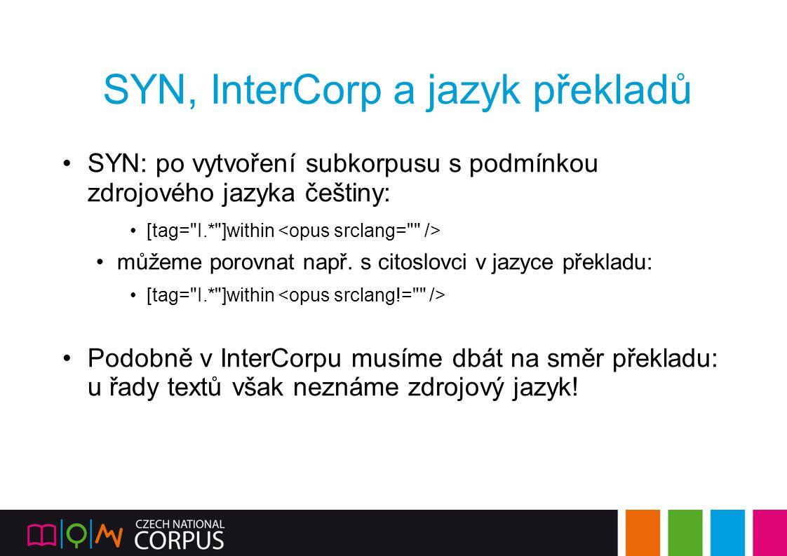 SYN, InterCorp a jazyk překladů