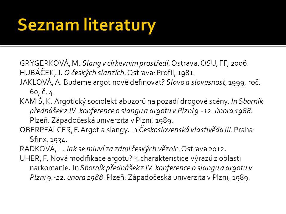Seznam literatury GRYGERKOVÁ, M. Slang v církevním prostředí. Ostrava: OSU, FF, 2006. HUBÁČEK, J. O českých slanzích. Ostrava: Profil, 1981.