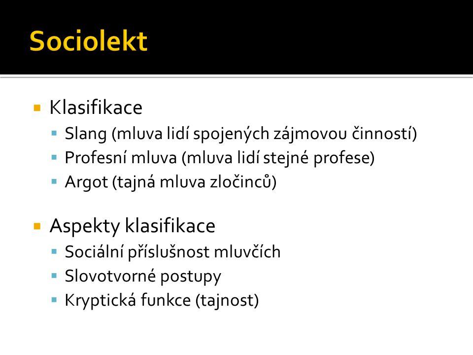 Sociolekt Klasifikace Aspekty klasifikace