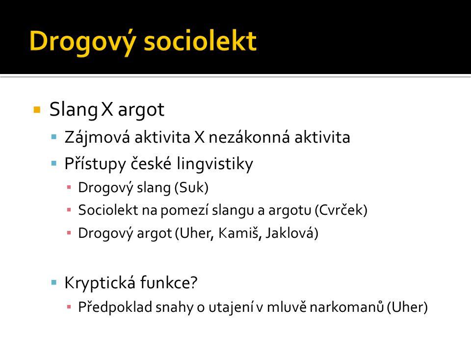 Drogový sociolekt Slang X argot Zájmová aktivita X nezákonná aktivita