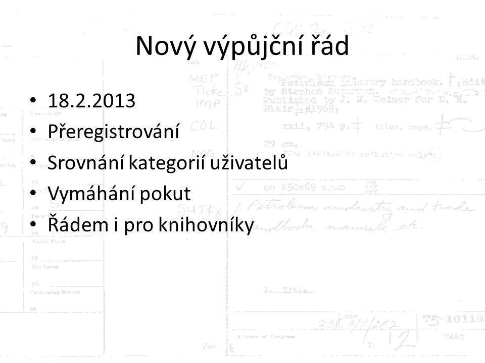 Nový výpůjční řád 18.2.2013 Přeregistrování