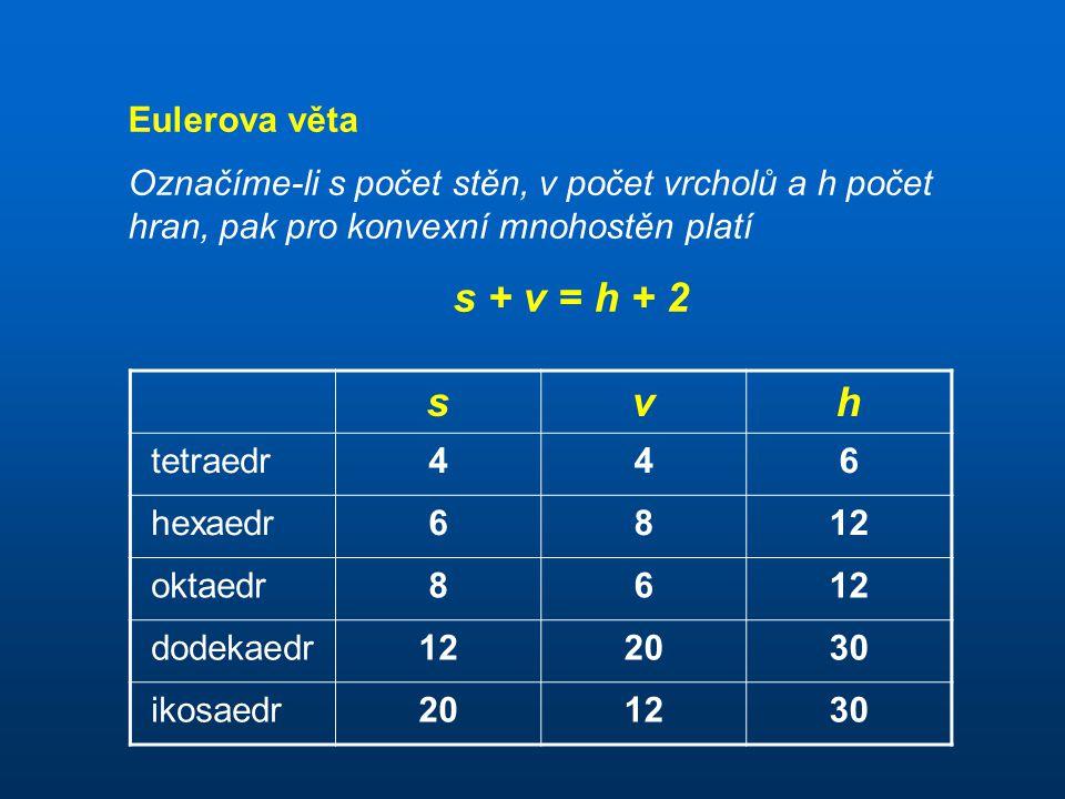 s + v = h + 2 s v h Eulerova věta