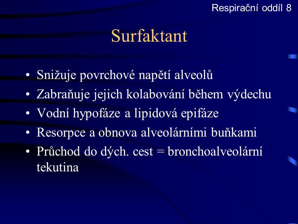 Surfaktant Snižuje povrchové napětí alveolů