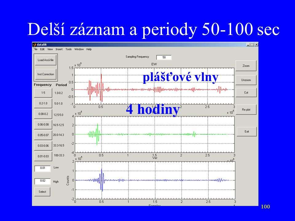 Delší záznam a periody 50-100 sec