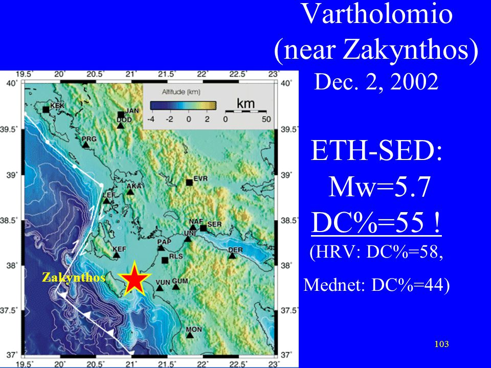 Vartholomio (near Zakynthos) Dec. 2, 2002 ETH-SED: Mw=5. 7 DC%=55