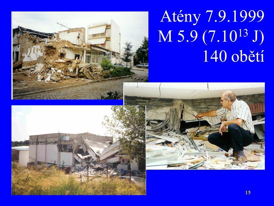 Atény 7.9.1999 M 5.9 (7.1013 J) 140 obětí