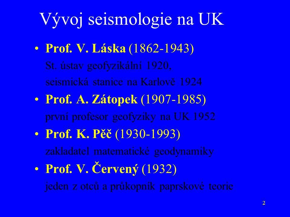 Vývoj seismologie na UK