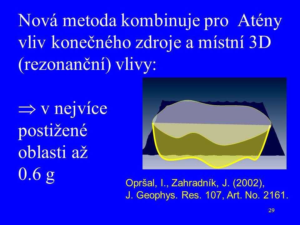 Nová metoda kombinuje pro Atény vliv konečného zdroje a místní 3D (rezonanční) vlivy:  v nejvíce postižené oblasti až 0.6 g