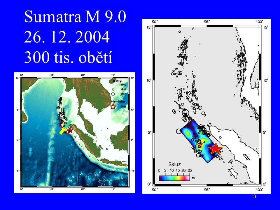 Sumatra M 9.0 26. 12. 2004 300 tis. obětí