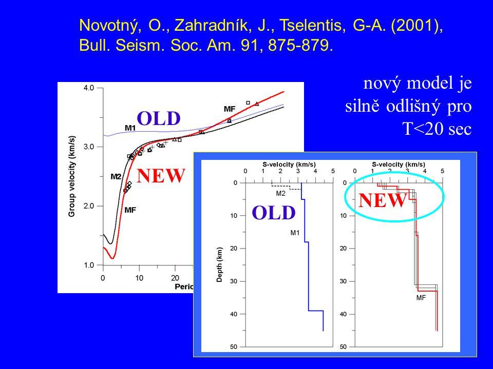 nový model je silně odlišný pro T<20 sec