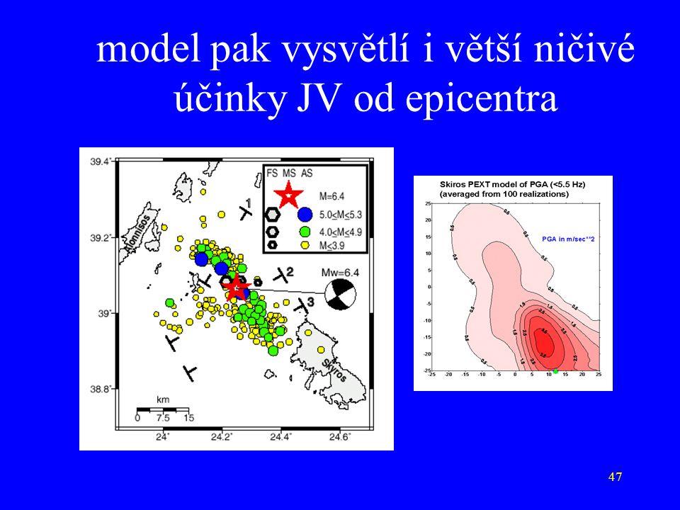 model pak vysvětlí i větší ničivé účinky JV od epicentra