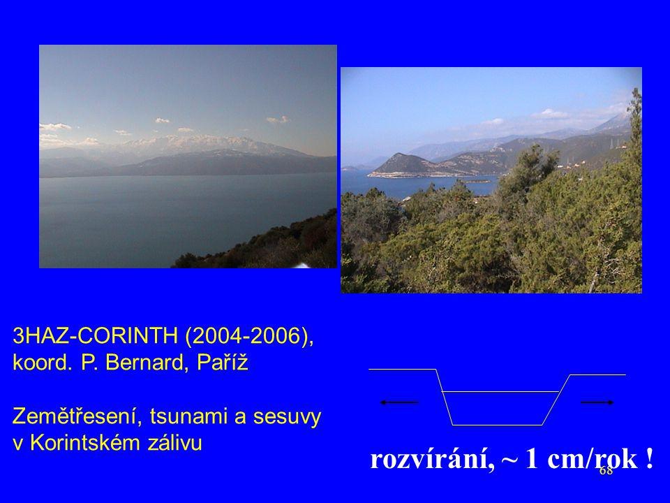 rozvírání, ~ 1 cm/rok ! 3HAZ-CORINTH (2004-2006),