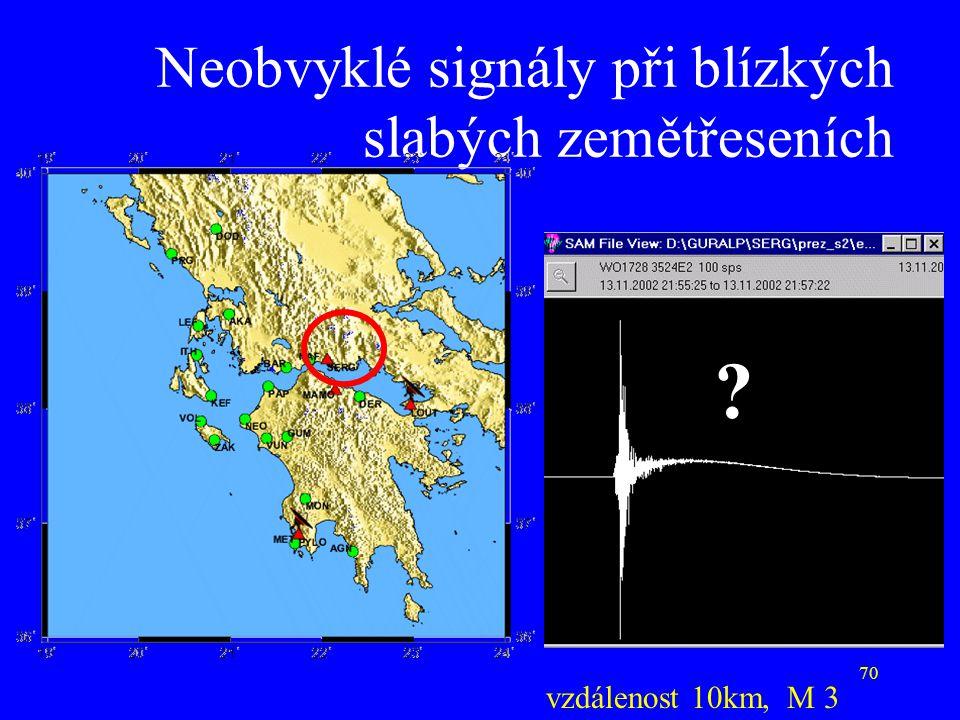Neobvyklé signály při blízkých slabých zemětřeseních