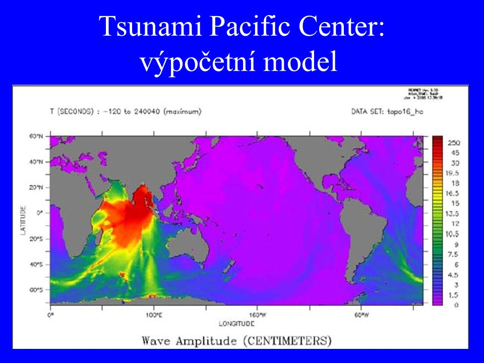 Tsunami Pacific Center: výpočetní model
