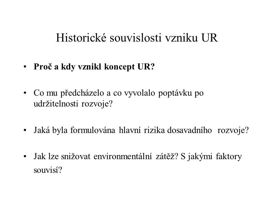 Historické souvislosti vzniku UR