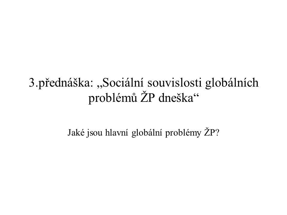 """3.přednáška: """"Sociální souvislosti globálních problémů ŽP dneška"""