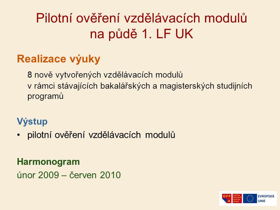 Pilotní ověření vzdělávacích modulů na půdě 1. LF UK