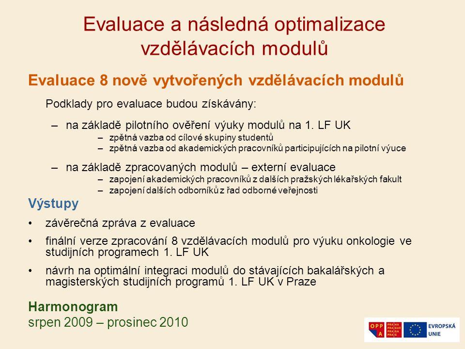 Evaluace a následná optimalizace vzdělávacích modulů