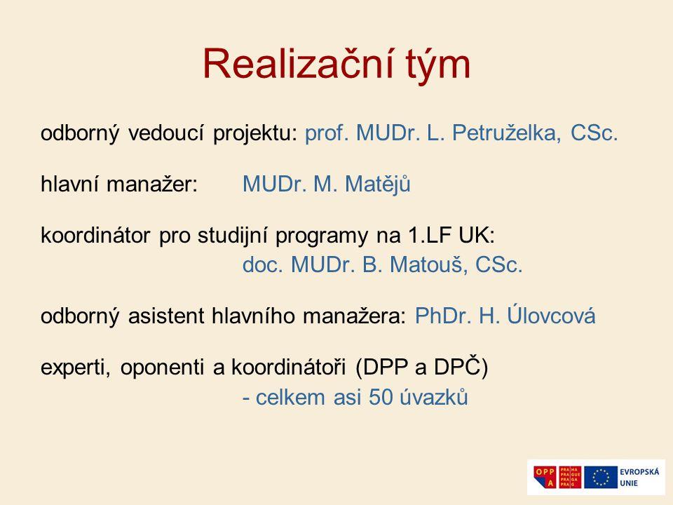 Realizační tým odborný vedoucí projektu: prof. MUDr. L. Petruželka, CSc. hlavní manažer: MUDr. M. Matějů.