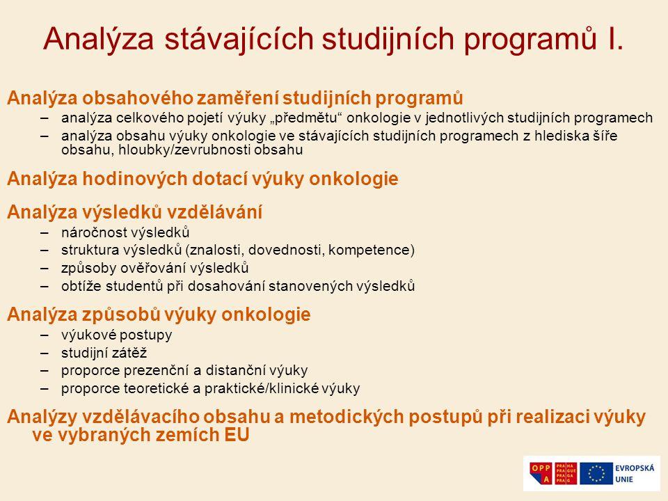 Analýza stávajících studijních programů I.